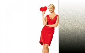 actress, blonde, red, dress, heart, smile, Naked truth
