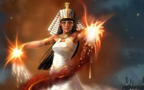 Art, girl, Pharaoh, magic, in white, Cleopatra, Egypt