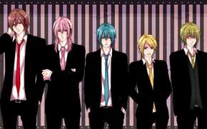 Art, Vocaloid, boys, costumes, tie, glasses, Vest, anime