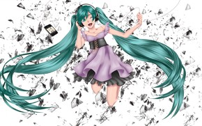 Art, Vocaloid, Mick Hastune, girl, headphones, wire, player, debris