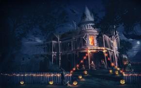 арт, дом, мальчик, Хэллоуин