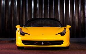 Ferrari, Italy, yellow, front, black roof, Ferrari