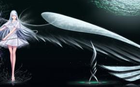 Art, girl, anime, wings, magic, flute, sky, clouds, water, spray