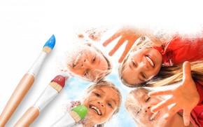 personas, Cepille, pinturas, Sonrer, risa, positiva