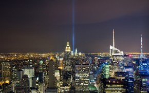 USA, act of terrorism, tragedy, disaster, crash, twin towers, World Trade Center, WTC, night, memory, Skyscrapers, lights, city