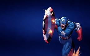 Капитан Америка, бег, щит, выстрелы, крик