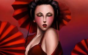 Arte, ragazza, geisha, faccia, Ombrelli, rosso