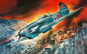 Soviet, single-engined, fighter, Valery Rudenko, airstrike, on, German, to column