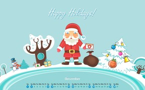 Capodanno, calendario, Dicembre, Babbo Natale, regali, pupazzo di neve, abete, Giocattoli, lettera, neve, inverno, Capodanno