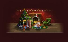 новый год, рождество, год змеи, змея, подарки, елка, хоккей, камин, коньки, шлем, мальчик, Новый год