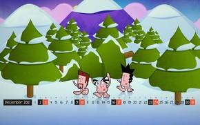 новый год, рождество, декабрь, календарь, числа, дни, лес, елка, человечки, снег, рисунок, вектор, Новый год