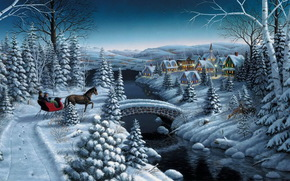 painting, Winter, snow, spruce, Tree, Trees, home, village, river, bridge, cart, sledge, horse, Star, evening, New Year, Christmas