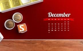 декабрь, календарь, числа, дни, конфеты, ассорти