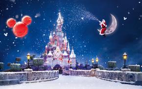 Natale, Capodanno, castello, Disneyland, Parigi, magia, semaforo, ghirlanda, semaforo, luna, neve, Babbo Natale, vacanza