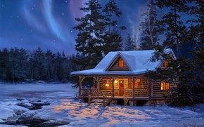 painting, wood, log, home, light, Winter, forest, night, Star, radiance, snow, creek, water