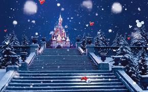 abete rosso, castello, semaforo, decorazione, fase, scala, inverno, neve, Alberi, Natale bootee, Babbo stivali, l'avvio, Capodanno, vacanza, Natale, Disneyland, Parigi