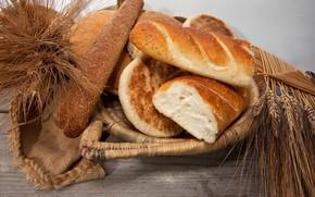 хлеб, батоны, выпечка, корзина, колосья, пшеница