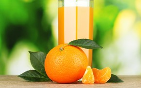 portocaliu, mandarin, citrice, suc, de sticl