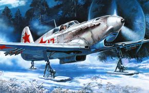 plane, Soviet, single-engined, fighter, with, Maya, December, was, built, option, on, axis, chassis, aircraft, instead, Wheel, wearing, Skiing, takeoff, secret, airfield.