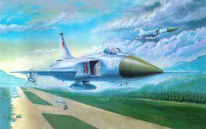 советский, истребитель, перехватчик, аэродром, взлетная, полоса.