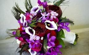 цветок, цветы, букет, орхидеи, каллы, розы, стразы, орхидея, пион