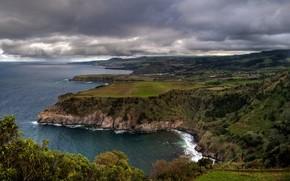 берег моря, побережье, португалия, горизонт, небо, тучи