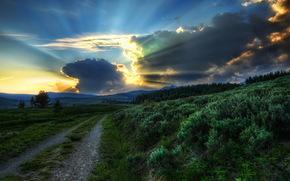 strada, cielo, Albe e tramonti, yellowstone, nuvole, raggi di luce