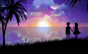 арт, toyboj, пейзаж, вечер, мальчик, девочка, силуэты, море, берег, пальмы