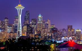 EE.UU., Washington, Seattle, espacio aguja, ciudad, noche, luces, violeta, Cielo, EE.UU., Washington, Seattle, Space Needle, Ciudad, noche, luces, lila, cielo