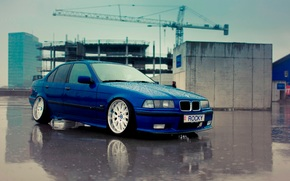 BMW, machine, blue, bmw, e36, low, bbs, blue, stanced, rocky, rain, blue,