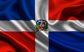 dominican republic, satin, flag, flag, dominican, republic