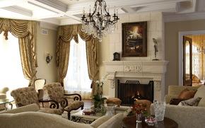 интерьер, дизайн, стиль, комната, камин, огонь, кресла, люстра, картина, цветы, орхидеи, цветок, розы, букет, орхидея