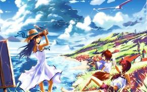 Arte, Anime, Chicas, cielo, las nubes, Naturaleza, sol, mar, sombrero, Las gaviotas, costa, el camino, tren, casa, Ciudad, sarafan, caballete, Montaas, telfono, lbum