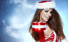 девушка, шатенка, шапочка, перчатка, подарок, радость, снег, Новый год