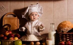 корзинки, яблоки, хлеб, молоко, яйца, мука, ребёнок, повар, бутылка, стакан, удивление