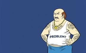 muzhik, stomachy, inscription, Carl Brutananadilevski, Blue Background, white T-shirt, hairy, blue pants, bald, Team Fast Food, chain