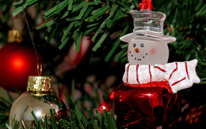 holiday, New Year, Christmas, Tree, Toys, Balls, snowman, needles, New Year