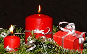 New Year, Christmas, holiday, Tree, needles, Candles, Gifts