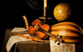 violin, flute, music, candle, globe, table