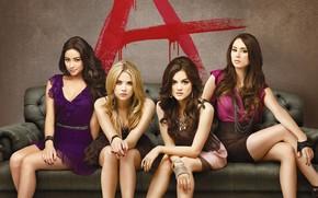 Fraude linda, Meninas, quatro, quatro, sof, sentar-se, carta