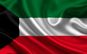 kuwait, satin, flag, flag, sateen