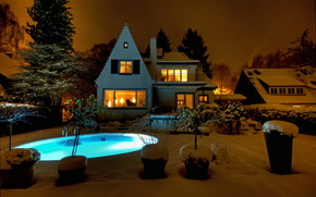 home, Mansion, Pools, night, snow