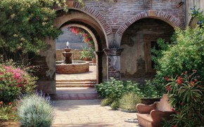 picture, Art, patio, home, arch, fountain, roof, tile, window, stage, Bricks, Garden, Plants, Trees, bush, Flowers, beds, sofa, summer