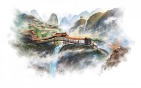 Art, picture, Asia, Mountains, waterfalls, rocks, temple, Bridges, white background