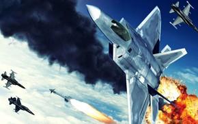 бой, истребители, рисунок, ракета