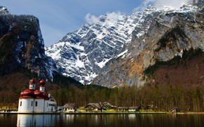 Mountains, snow, forest, home, Monastery, lake