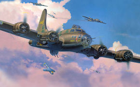 flying fortress, Bombers, fighters, interception, picture