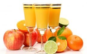 calici, succo, frutta, mele, arance, calce