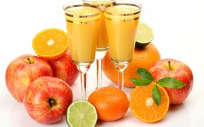 calici, succo, arance, mele, calce, frutta, fogliame