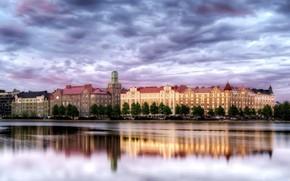 Helsinki, Finland, reflection, water, building, sky, clouds